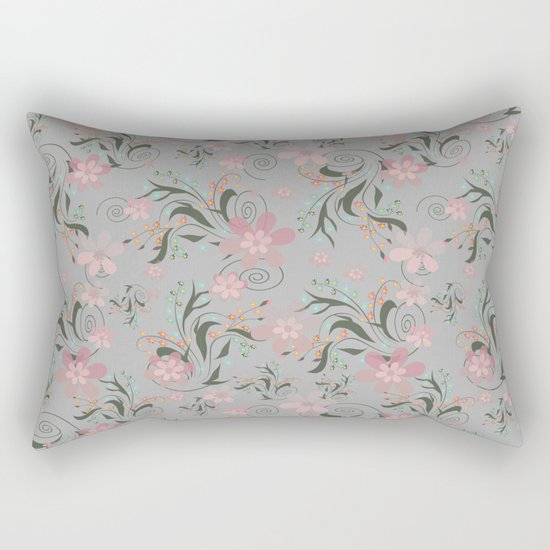 Retro . Pink flowers on grey background . Rectangular Pillow
