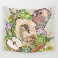 pigs Wall Tapestries featuring Guinea Pigs by Raewyn Haughton