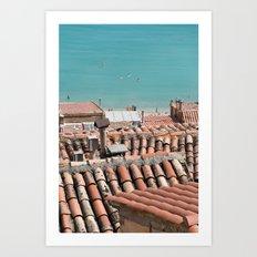 Swimming roofs Art Print