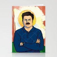 ron swanson Stationery Cards featuring Ron Swanson by Sayada Ramdial