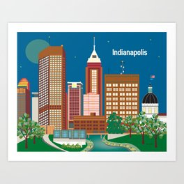 Indianapolis, Indiana - Skyline Illustration by Loose Petals Art Print