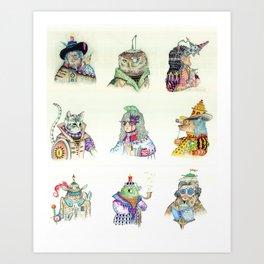 9 Characters Art Print