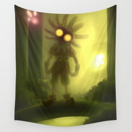 Skull kid in forest Wall Tapestry