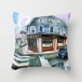 Aidan's of Newport on a wet spring afternoon, 1999 Throw Pillow