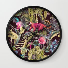 Fantasy in the nocturnal tropical jungle Wall Clock
