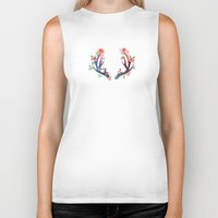 antler Biker Tanks featuring Roses and Antler by Better HOME