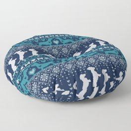 Fair Isle Knitting Doxie Love // navy blue background white and teal dachshunds dogs bones paws and hearts Floor Pillow