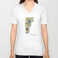 vermont V-neck T-shirts featuring Vermont state map by bri.buckley