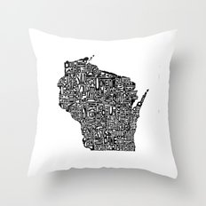 Typographic Wisconsin Throw Pillow
