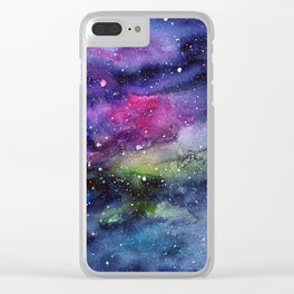 Galaxy Watercolor Night Sky Painting Nebula Art Clear iPhone Case