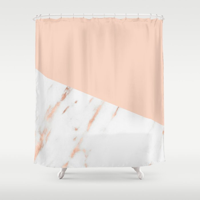 Pink Quartz And White Marble Rose Gold Shower Curtain By