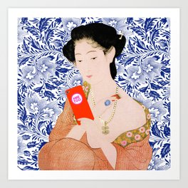 confused timeline with japanese lady Art Print