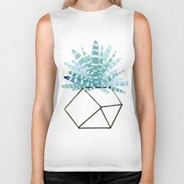 Cacti in Geometric Pot - Green Cactus and Graphic, Black Vase Biker Tank