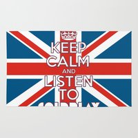 """coldplay Area & Throw Rugs featuring """"Keep Calm and Listen to Coldplay""""-Union Jack by Fabfari"""