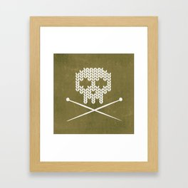 Knitted Skull / Knitting with Attitude (white on olive yellow) Framed Art Print