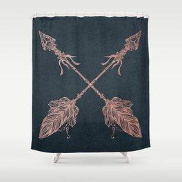 Arrows Rose Gold Foil on Navy Blue Shower Curtain