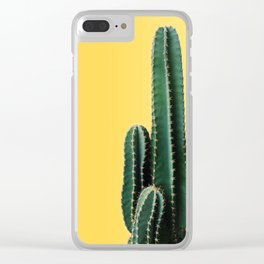 Cactus with Yellow Background Clear iPhone Case