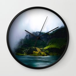 Mid Century Modern Round Circle Photo Green Cliffs Meeting Turquoise Waters Wall Clock