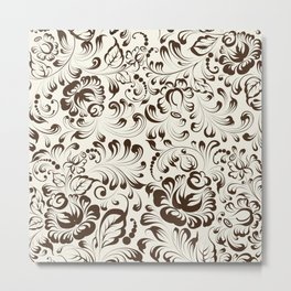 Floral seamless pattern in Gzhel style Metal Print