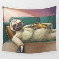 sloth Wall Tapestries featuring Sloth by Ken Coleman