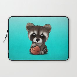 Cute Baby Raccoon Playing With Basketball Laptop Sleeve