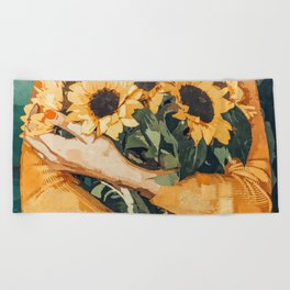 Holding Sunflowers #society6 #illustration #nature #painting Beach Towel