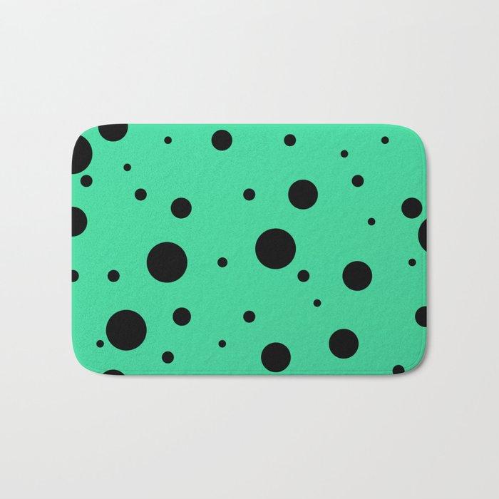 Black Bubbles On Green Bath Mat