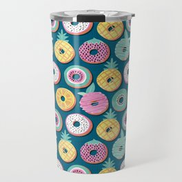 Undercover donuts // turquoise background pastel colors fruit donuts Travel Mug
