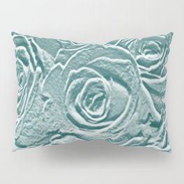 Sage Turquoise Rose Relief Pillow Sham