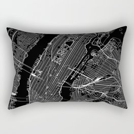 New York City Black Map Rectangular Pillow