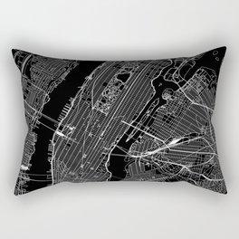 New York City Black Map Rectangular Pillow