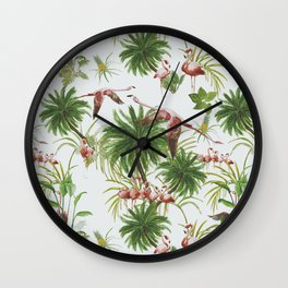 Tropical island of flamingos I Wall Clock