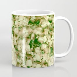 Victorian Style Real Green Buttercup Flowers Repeat Pattern Coffee Mug