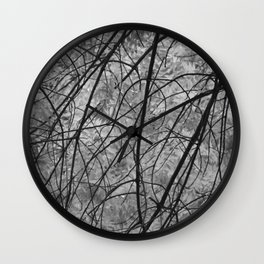 Leaves (black and white) Wall Clock