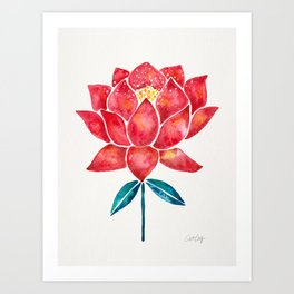 Sacred Lotus – Red Blossom Art Print