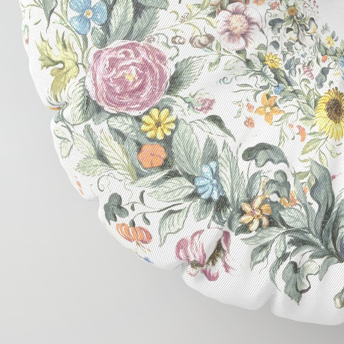 Circle of life- floral Floor Pillow