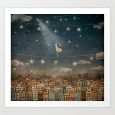 Illustration of  cute houses and  pretty girl   in night sky Art Print