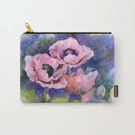 Watercolor Poppies Flowers Art Carry-All Pouch
