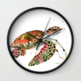 Sea Turtle, Brown, Olive green Pink Shades Wall Clock