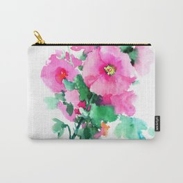 Hollyhock Pink Flowers vintage floral design Carry-All Pouch