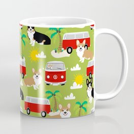 corgi welsh corgis hippie bus tropical beach surf life road trip corgi lover Coffee Mug