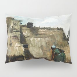 Vincent Van Gogh - A Peasant Woman Digging in Front of Her Cottage Pillow Sham