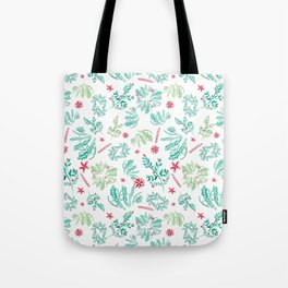 Red and Green Christmas leaves patterm Tote Bag