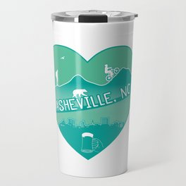 Asheville, NC - AVL 8 Green Travel Mug