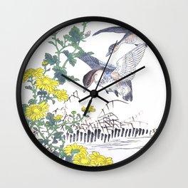 Kono Bairei - Two Flying Ducks And Chrysanthemum Flowers - Antique Japanese Woodblock Print Art Wall Clock