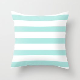 Aqua blue and White stripes lines - horizontal Throw Pillow