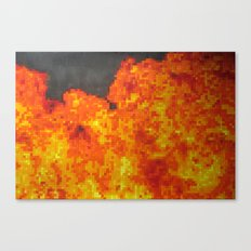 Fire on pixel (watercolor) Canvas Print