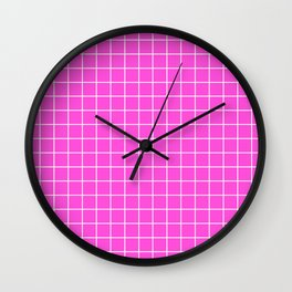 Purple pizzazz - pink color - White Lines Grid Pattern Wall Clock