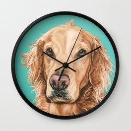 Handsome Golden Retriever Painting, Golden Retriever Portrait, Stately Golden Retriever Dog Art Wall Clock