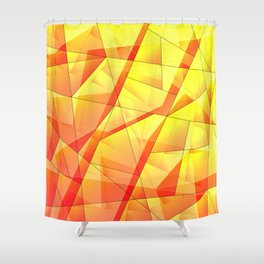 Bright contrasting fragments of crystals on irregularly shaped yellow and orange triangles. Shower Curtain